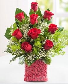 Cam içerisinde 9 adet kırmızı gül  Yozgat internetten çiçek satışı