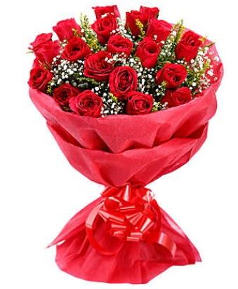 21 adet kırmızı gülden modern buket  Yozgat çiçek gönderme