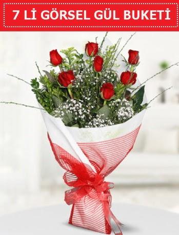 7 adet kırmızı gül buketi Aşk budur  Yozgat çiçek satışı