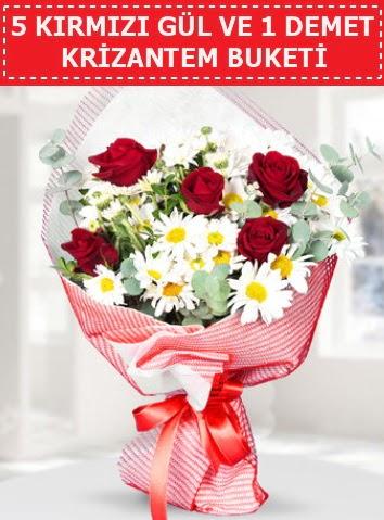 5 adet kırmızı gül ve krizantem buketi  Yozgat çiçek satışı