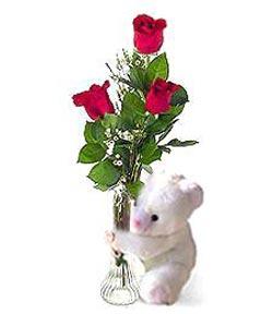 oyuncak ve 3 adet gül  Yozgat çiçek siparişi sitesi