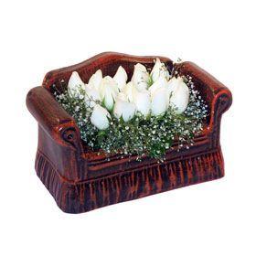 seramik içerisinde 11 gül  Yozgat hediye çiçek yolla