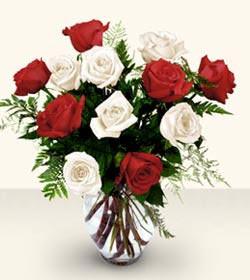 Yozgat uluslararası çiçek gönderme  6 adet kirmizi 6 adet beyaz gül cam içerisinde