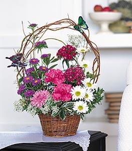 Yozgat cicekciler , cicek siparisi  sepet içerisinde karanfil gerbera ve kir çiçekleri