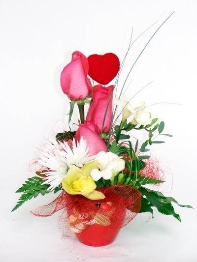 Yozgat ucuz çiçek gönder  cam içerisinde 3 adet gül ve kir çiçekleri