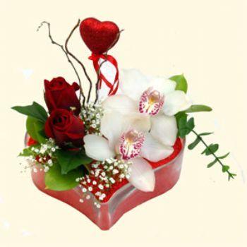 Yozgat hediye sevgilime hediye çiçek  1 kandil orkide 5 adet kirmizi gül mika kalp