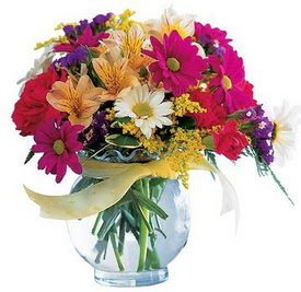 Yozgat internetten çiçek satışı  cam yada mika içerisinde karisik mevsim çiçekleri