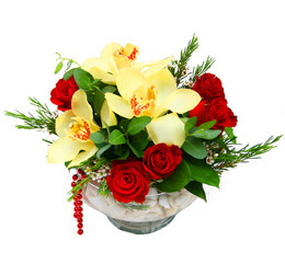 Yozgat çiçek gönderme  1 adet orkide 5 adet gül cam yada mikada