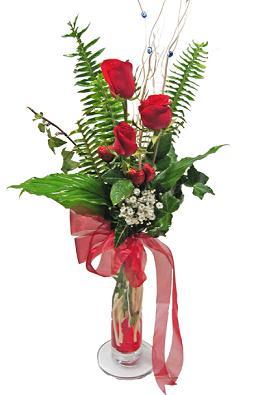Çiçek gönderin cam vazoda 3 gül çiçekleri  Yozgat çiçek siparişi sitesi