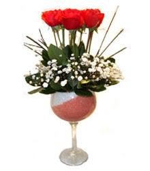 Yozgat çiçekçiler  cam kadeh içinde 7 adet kirmizi gül çiçek