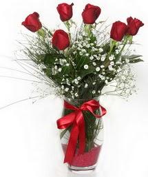 7 adet gülden cam içerisinde güller  Yozgat 14 şubat sevgililer günü çiçek