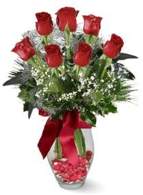 7 adet vazoda gül  Yozgat internetten çiçek satışı  kirmizi gül