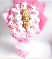 17 adet pelus ayicik buketi  Yozgat İnternetten çiçek siparişi