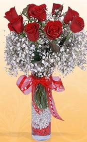 9 adet kirmizi gül cam yada mika vazoda  Yozgat çiçek mağazası , çiçekçi adresleri