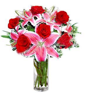 Yozgat çiçek yolla  1 dal cazablanca ve 6 kırmızı gül çiçeği