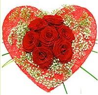 Mika kalp içerisinde 7 adet kırmızı gül  Yozgat çiçekçi mağazası