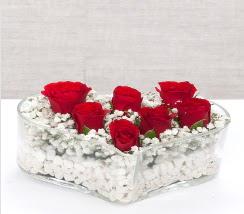 kalp içerisinde 7 adet kırmızı gül  Yozgat çiçek siparişi vermek