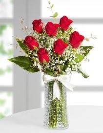 Cam vazoda 7 adet kırmızı gül  Yozgat çiçek , çiçekçi , çiçekçilik