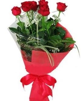 5 adet kırmızı gülden buket  Yozgat kaliteli taze ve ucuz çiçekler