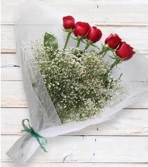5 kırmızı gülden sade buket  Yozgat çiçek yolla