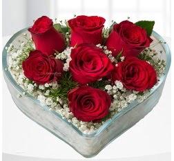 Kalp içerisinde 7 adet kırmızı gül  Yozgat çiçek servisi , çiçekçi adresleri