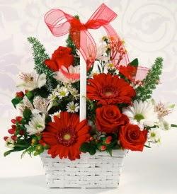Karışık rengarenk mevsim çiçek sepeti  Yozgat internetten çiçek siparişi