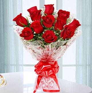 11 adet kırmızı gülden görsel şık buket  Yozgat ucuz çiçek gönder