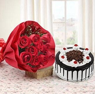 12 adet kırmızı gül 4 kişilik yaş pasta  Yozgat çiçek , çiçekçi , çiçekçilik