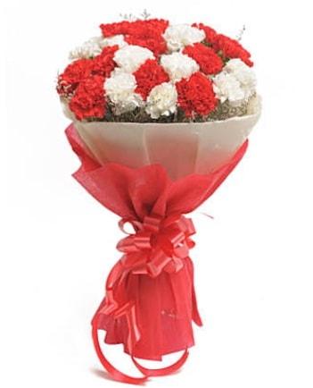 21 adet kırmızı beyaz karanfil buketi  Yozgat çiçek satışı