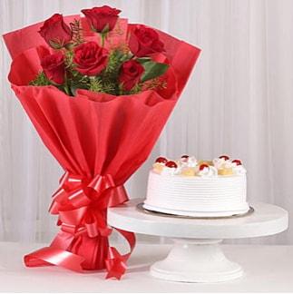 6 Kırmızı gül ve 4 kişilik yaş pasta  Yozgat çiçek , çiçekçi , çiçekçilik