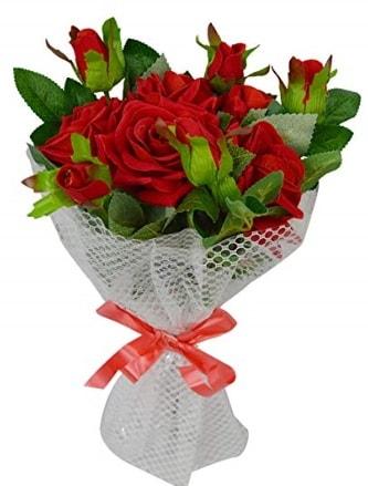 9 adet kırmızı gülden sade şık buket  Yozgat çiçekçi telefonları