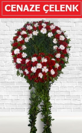 Kırmızı Beyaz Çelenk Cenaze çiçeği  Yozgat İnternetten çiçek siparişi