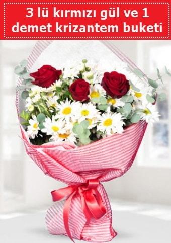 3 adet kırmızı gül ve krizantem buketi  Yozgat çiçek gönderme sitemiz güvenlidir