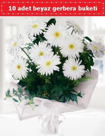 10 Adet beyaz gerbera buketi  Yozgat çiçek , çiçekçi , çiçekçilik