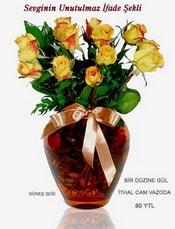 Yozgat internetten çiçek satışı  mika yada Cam vazoda 12 adet sari gül